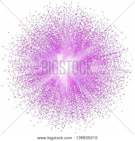 Bright glowing ball filled with particles and dust with shine and glow on white background. The specks of light flying from the explosion