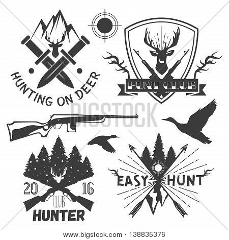 Vector set of hunting club labels in vintage style. Design elements, emblems, badges, hunt logo.
