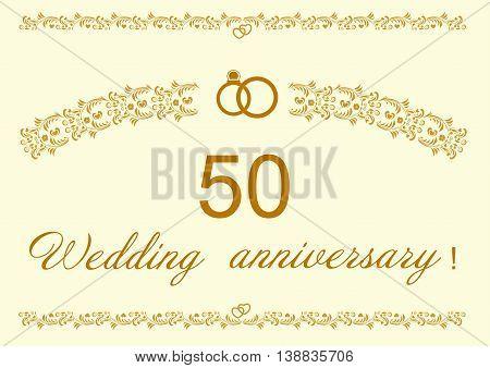 50th Wedding anniversary Invitation editable and scaleable vector illustration
