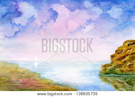 Seascape, cloudy sky, sand beach, stone mountain and boat on the horizon. Hand painted watercolor illustration and paper texture