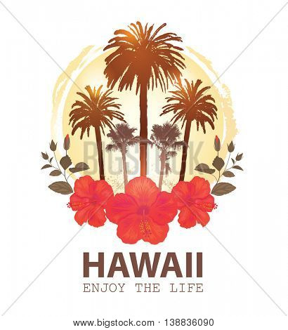 Travel Tropical Card Hawaii. Summer Vacation and Palm Tree Background. Print for T-shirt.