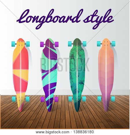 Vector set of longboard skateboards. Design elements and icons. Vector illustration.