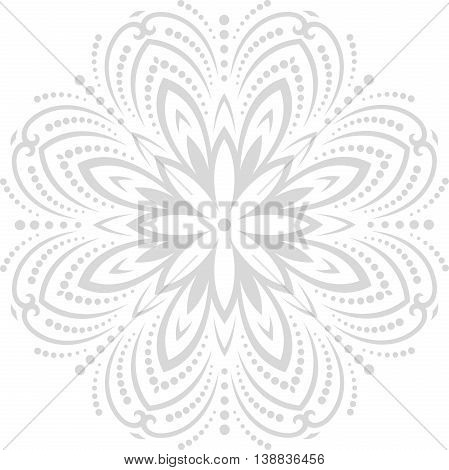 Oriental vector round pattern with arabesques and floral elements. Traditional classic ornament. Light silver pattern