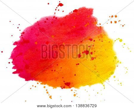 Abstract colorful spots and splashes isolated on white background. Hand painted watercolor illustration and paper texture