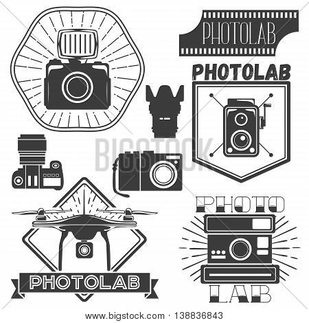 Vector set of photography and logo templates. Photo studio logotypes and design elements. Labels, emblems, badges and icons in vintage style.