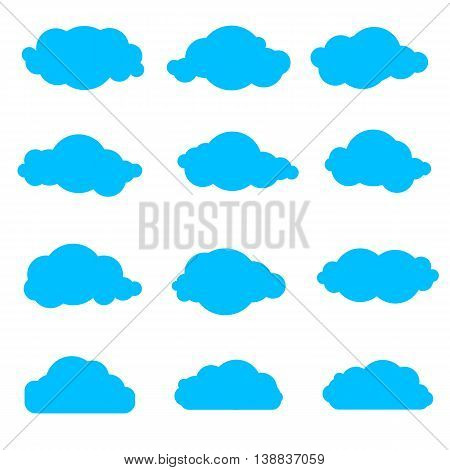 set of simple clouds, collection of blue clouds on a white background