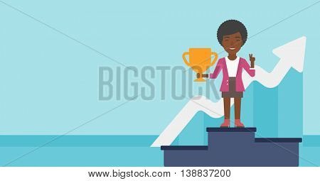 An african-american business woman standing on a pedestal with winner cup. Business woman celebrating her business award. Business award concept. Vector flat design illustration. Horizontal layout.
