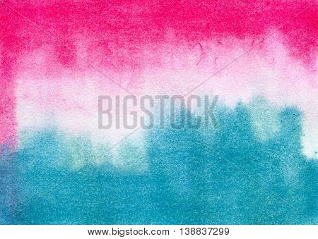 Abstract pink and blue streaks. Hand painted watercolor illustration and paper texture