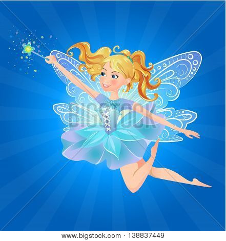 Illustration of cute kind cheerful fairy with a magic wand on a blue background