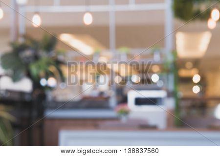 Blurred defocus with Bokeh light coffee shop