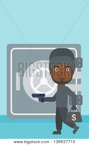 An african-american burglar in mask near the big safe door. Burglar holding hand gun and a bag with dollar sign. Thief stealing money. Vector flat design illustration. Vertical layout.