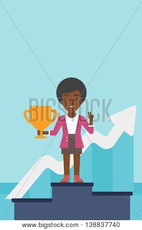 An african-american business woman standing on a pedestal with winner cup. Business woman celebrating her business award. Business award concept. Vector flat design illustration. Vertical layout.