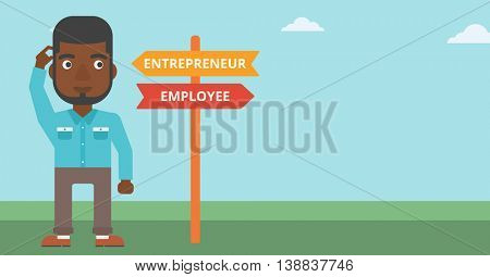 An african-american man standing at road sign with two career pathways. Man choosing career pathway. Man making a decision of his career pathway. Vector flat design illustration. Horizontal layout.