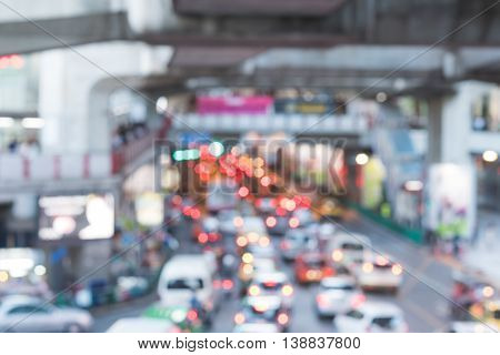 Blurred defocus , traffic in Bangkok city