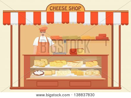 Cheese Shop. Man Seller. Store shelves with different kind of Cheese set. Parmesan mozarella swiss emmentaler cheddar gouda icons collection