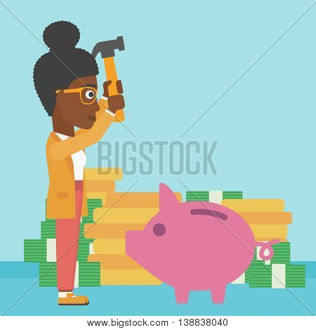 An african-american business woman breaking piggy bank on a blue background with stacks of coins. Concept of business bankruptcy. Vector flat design illustration. Square layout.