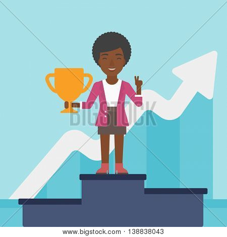 An african-american business woman standing on a pedestal with winner cup. Business woman celebrating her business award. Business award concept. Vector flat design illustration. Square layout.