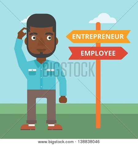 An african-american man standing at road sign with two career pathways. Man choosing career pathway. Man making a decision of his career pathway. Vector flat design illustration. Square layout.