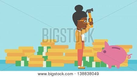An african-american business woman breaking piggy bank on a blue background with stacks of coins. Concept of business bankruptcy. Vector flat design illustration. Horizontal layout.