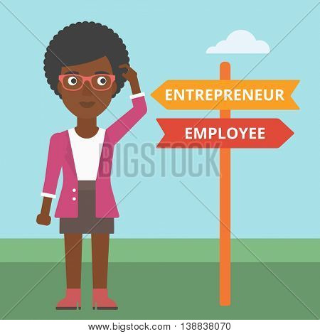 An african-american woman standing at road sign with two career pathways. Woman making a decision of her career pathway. Vector flat design illustration. Square layout.