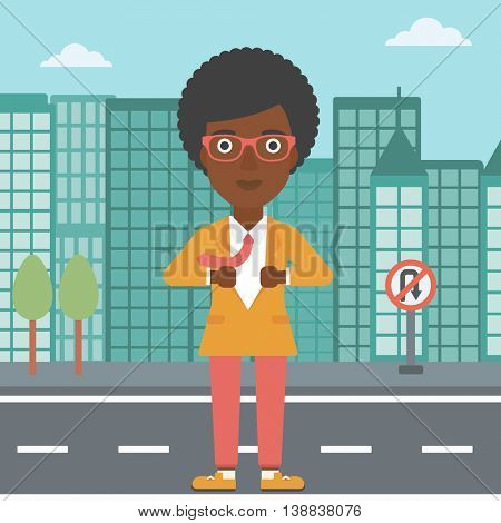 An african-american business woman opening her jacket like superhero on the background of modern city. Business woman superhero. Vector flat design illustration. Square layout.