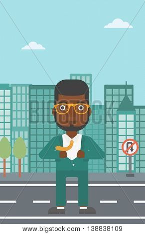 An african-american businessman opening his jacket like superhero on the background of modern city. Businessman superhero. Vector flat design illustration. Vertical layout.