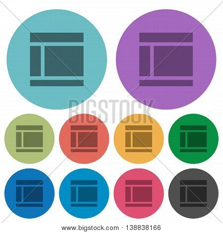 Color Two columned web layout flat icon set on round background.