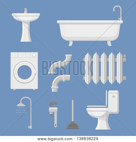 Vector Pipeline plumbing, heater system and Plumber service tools icons set vector illustration