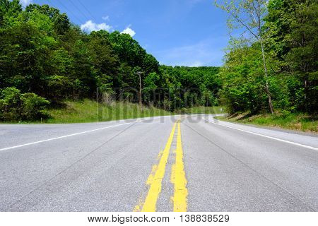 Empty highway in Pennsylvania at sunny summer day