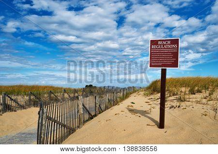 Beach regulations sign at Cape Cod, Massachusetts, USA