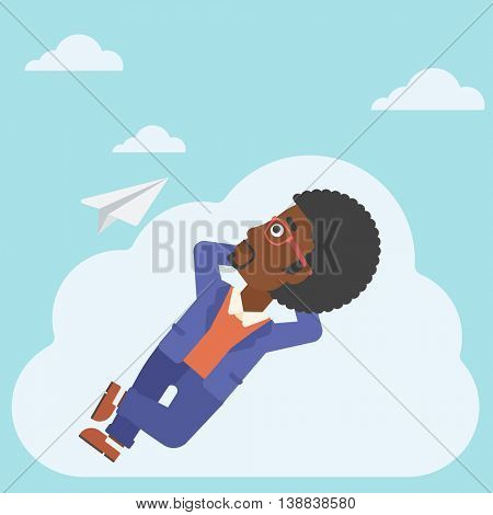 An african-american businessman lying on a cloud and looking at flying paper plane. Businessman relaxing on a cloud. Vector flat design illustration. Square layout.