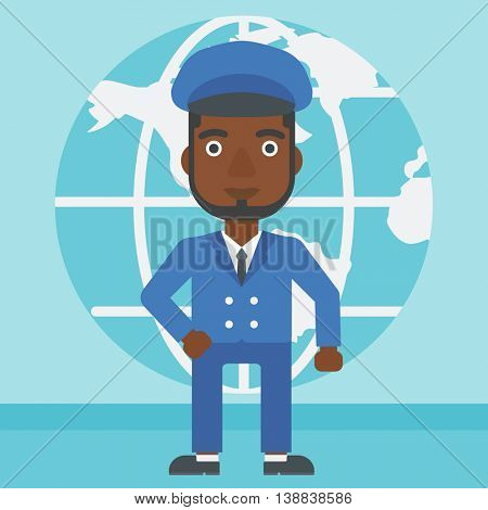 An african-american businessman standing on background of Earth globe. Business man taking part in global business. Global business concept. Vector flat design illustration. Square layout.