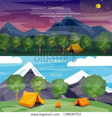 Camping cartoon banners tourist tent in mountains outdoor recreation adventures in nature vector illustration