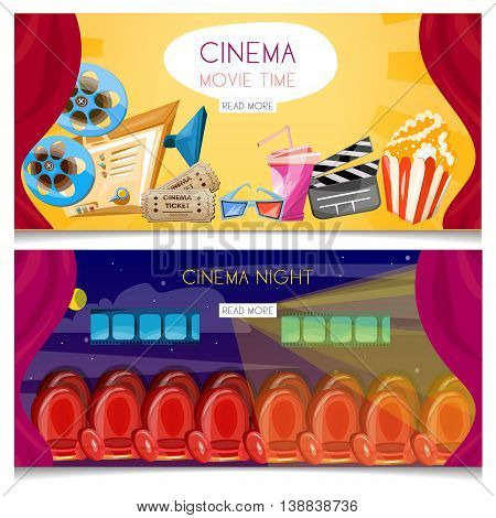 Cinema cartoon banner movie night premiere film projector vector
