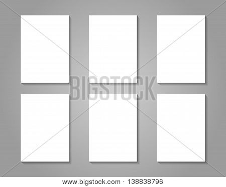 6 white paper sheets on gray background. Vector mock up for presentation card flyer cover design versions.