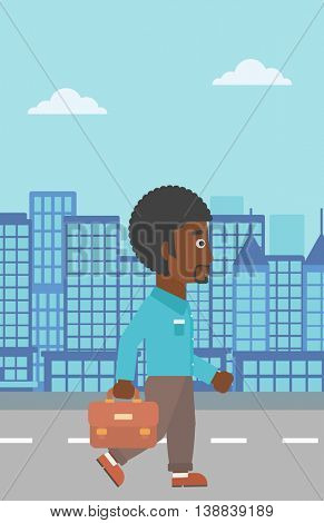 An african-american businessman walking with a briefcase. Businessman walking down the street. Vector flat design illustration. Vertical layout.