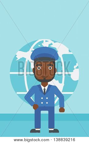 An african-american businessman standing on background of Earth globe. Business man taking part in global business. Global business concept. Vector flat design illustration. Vertical layout.