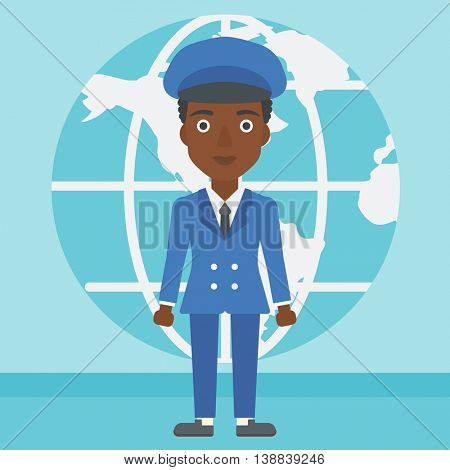 An african-american business woman standing on a background of Earth globe. Business woman taking part in global business. Global business concept. Vector flat design illustration. Square layout.