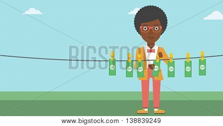 An african-american business woman drying banknotes on the clothesline on the background of blue sky. Woman loundering money. Vector flat design illustration. Horizontal layout.