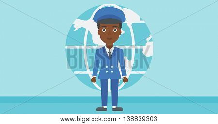 An african-american business woman standing on a background of Earth globe. Business woman taking part in global business. Global business concept. Vector flat design illustration. Horizontal layout.