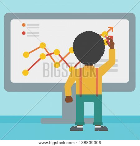 Rear view of an african-american businessman drawing infographic on the board. Man giving business presentation. Vector flat design illustration. Square layout.
