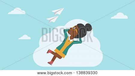 An african-american business woman lying on a cloud and looking at flying paper plane. Business woman relaxing on a cloud. Vector flat design illustration. Horizontal layout.