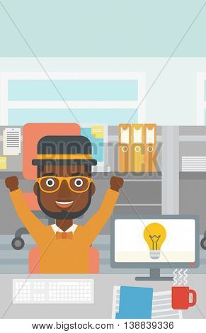 An african-american man with arms up having a business idea. Man working on a computer with a business idea bulb on a screen. Business idea concept. Vector flat design illustration. Vertical layout.