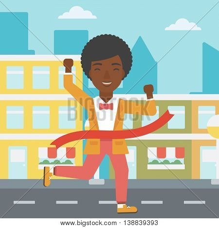 An african-american successful business woman running at the finish line. Business woman crossing finish line. Concept of business success. Vector flat design illustration. Square layout.
