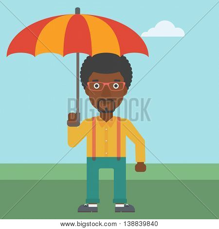 An african-american businessman standing with open umbrella on the background of blue sky. Businessman under open umbrella. Happy man with umbrella. Vector flat design illustration. Square layout.