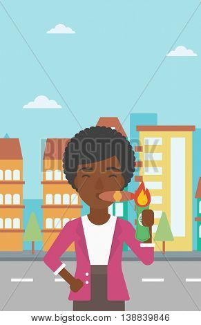 An african-american business woman lighting a cigar with dollar bill. Successful business woman smoking cigar on the background of modern city. Vector flat design illustration. Vertical layout.