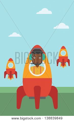 An african-american businessman in headphones flying in the rocket. Successful business start up concept. Business rocket taking off. Vector flat design illustration. Vertical layout.