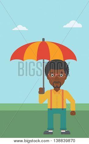 An african-american businessman standing with open umbrella on the background of blue sky. Businessman under open umbrella. Happy man with umbrella. Vector flat design illustration. Vertical layout.