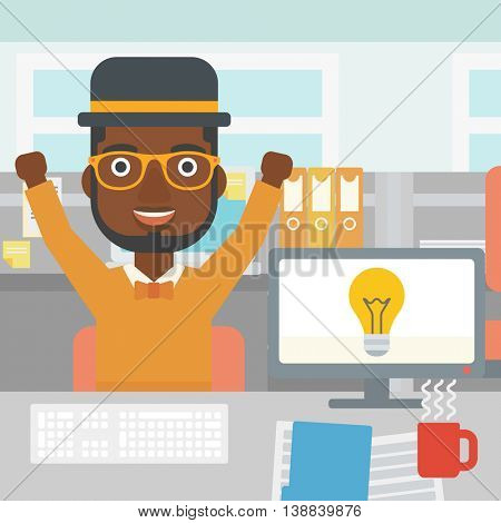 An african-american man with arms up having a business idea. Man working on a computer with a business idea bulb on a screen. Business idea concept. Vector flat design illustration. Square layout.
