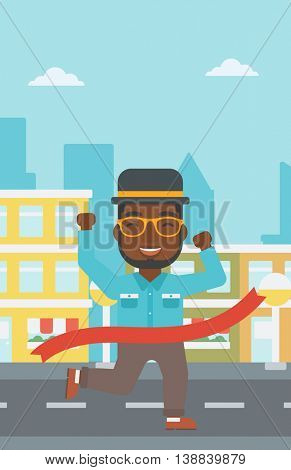 An african-american businessman running at the finish line. Businessman crossing finish line. Concept of business success. Vector flat design illustration. Vertical layout.
